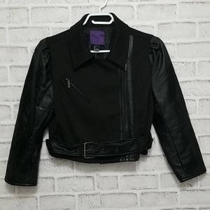 Forever 21 Crop Faux Leather Sleeve Jacket